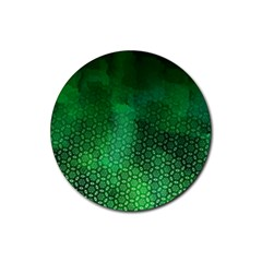Ombre Green Abstract Forest Rubber Round Coaster (4 Pack)  by DanaeStudio