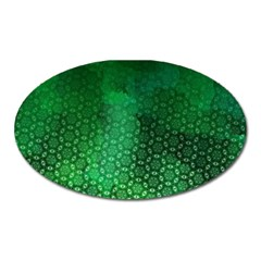 Ombre Green Abstract Forest Oval Magnet by DanaeStudio