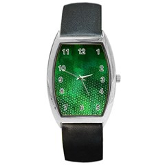 Ombre Green Abstract Forest Barrel Style Metal Watch by DanaeStudio