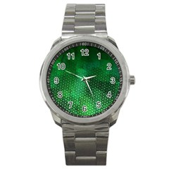 Ombre Green Abstract Forest Sport Metal Watch by DanaeStudio