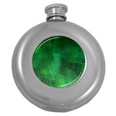 Ombre Green Abstract Forest Round Hip Flask (5 Oz) by DanaeStudio