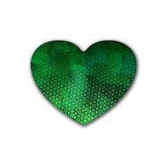 Ombre Green Abstract Forest Rubber Coaster (heart)  by DanaeStudio