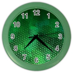 Ombre Green Abstract Forest Color Wall Clocks by DanaeStudio