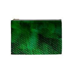 Ombre Green Abstract Forest Cosmetic Bag (medium)  by DanaeStudio