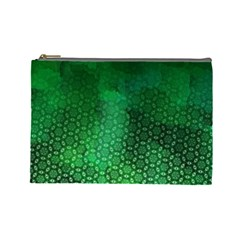 Ombre Green Abstract Forest Cosmetic Bag (large)  by DanaeStudio