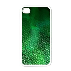 Ombre Green Abstract Forest Apple Iphone 4 Case (white) by DanaeStudio