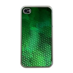 Ombre Green Abstract Forest Apple Iphone 4 Case (clear) by DanaeStudio