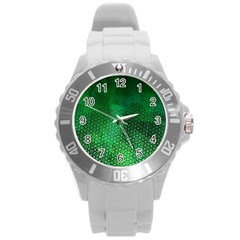 Ombre Green Abstract Forest Round Plastic Sport Watch (l) by DanaeStudio