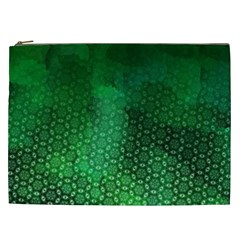 Ombre Green Abstract Forest Cosmetic Bag (xxl)  by DanaeStudio