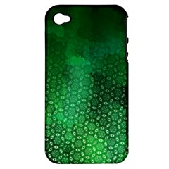 Ombre Green Abstract Forest Apple Iphone 4/4s Hardshell Case (pc+silicone) by DanaeStudio