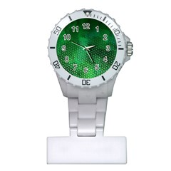 Ombre Green Abstract Forest Plastic Nurses Watch by DanaeStudio