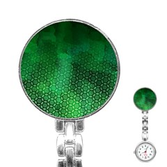 Ombre Green Abstract Forest Stainless Steel Nurses Watch by DanaeStudio