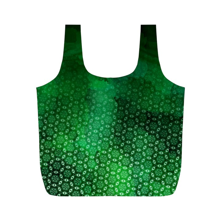 Ombre Green Abstract Forest Full Print Recycle Bags (M)