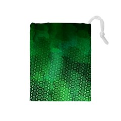 Ombre Green Abstract Forest Drawstring Pouches (medium)  by DanaeStudio
