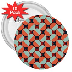 Modernist Geometric Tiles 3  Buttons (10 pack)
