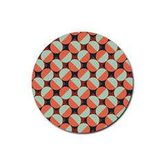 Modernist Geometric Tiles Rubber Round Coaster (4 pack)