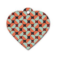 Modernist Geometric Tiles Dog Tag Heart (Two Sides)
