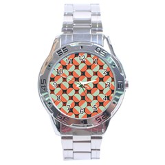 Modernist Geometric Tiles Stainless Steel Analogue Watch