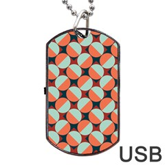 Modernist Geometric Tiles Dog Tag USB Flash (Two Sides)