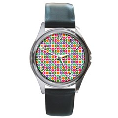 Modernist Floral Tiles Round Metal Watch