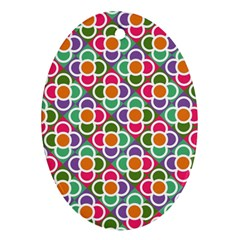Modernist Floral Tiles Ornament (Oval)