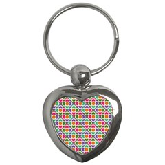 Modernist Floral Tiles Key Chains (heart)  by DanaeStudio