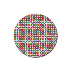 Modernist Floral Tiles Rubber Coaster (Round)