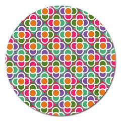 Modernist Floral Tiles Magnet 5  (round) by DanaeStudio