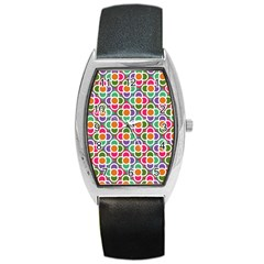 Modernist Floral Tiles Barrel Style Metal Watch
