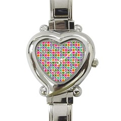 Modernist Floral Tiles Heart Italian Charm Watch by DanaeStudio