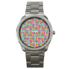 Modernist Floral Tiles Sport Metal Watch by DanaeStudio