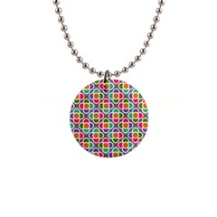Modernist Floral Tiles Button Necklaces