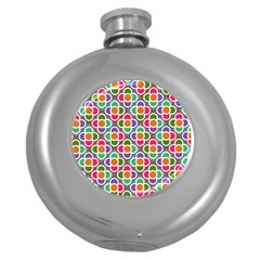 Modernist Floral Tiles Round Hip Flask (5 oz)