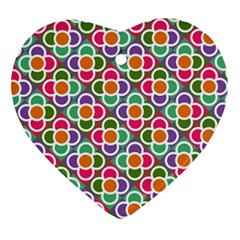 Modernist Floral Tiles Heart Ornament (2 Sides)
