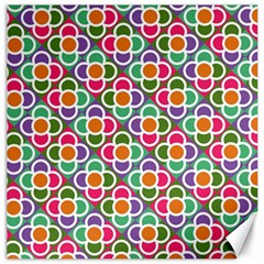 Modernist Floral Tiles Canvas 12  x 12