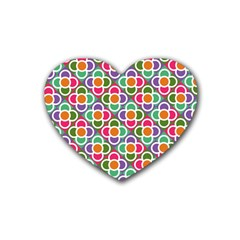 Modernist Floral Tiles Heart Coaster (4 pack)