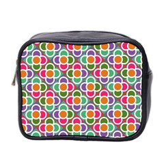 Modernist Floral Tiles Mini Toiletries Bag 2-Side