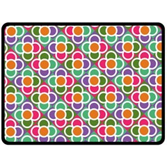 Modernist Floral Tiles Fleece Blanket (Large)
