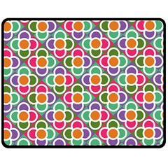 Modernist Floral Tiles Fleece Blanket (Medium)