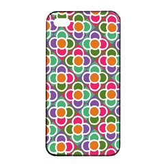 Modernist Floral Tiles Apple Iphone 4/4s Seamless Case (black)