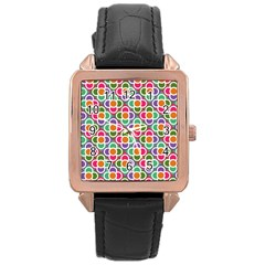 Modernist Floral Tiles Rose Gold Leather Watch