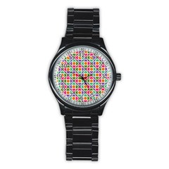 Modernist Floral Tiles Stainless Steel Round Watch