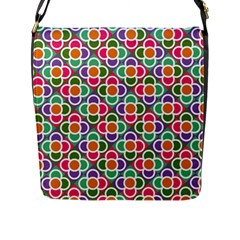 Modernist Floral Tiles Flap Messenger Bag (L)