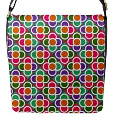 Modernist Floral Tiles Flap Messenger Bag (s) by DanaeStudio