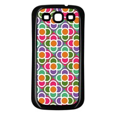 Modernist Floral Tiles Samsung Galaxy S3 Back Case (Black)