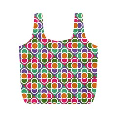 Modernist Floral Tiles Full Print Recycle Bags (M)