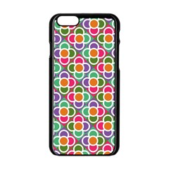 Modernist Floral Tiles Apple iPhone 6/6S Black Enamel Case