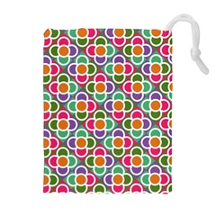 Modernist Floral Tiles Drawstring Pouches (Extra Large)