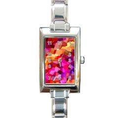 Geometric Fall Pattern Rectangle Italian Charm Watch by DanaeStudio