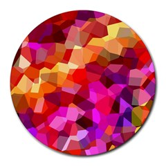 Geometric Fall Pattern Round Mousepads
